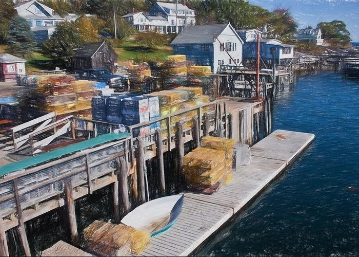 Maine Greeting Card featuring the photograph Lobster Traps At New Harbor by Frank Tozier