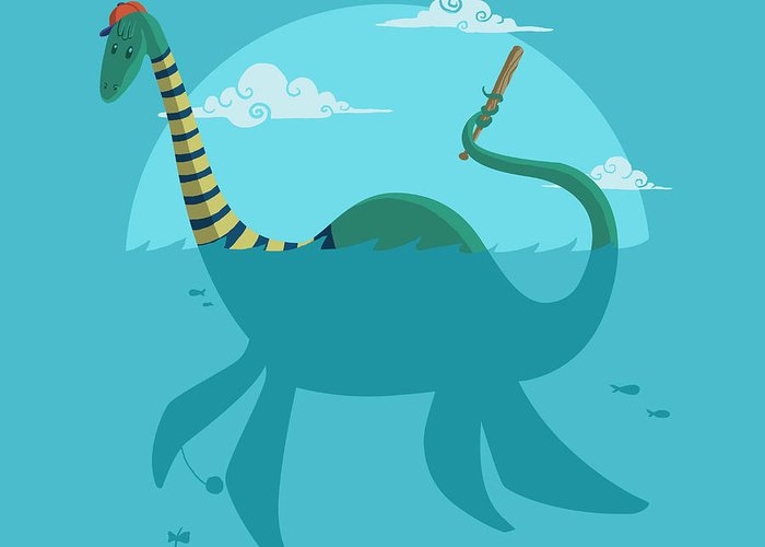 Ness Greeting Card featuring the digital art Loch Ness Monster by Michael Myers