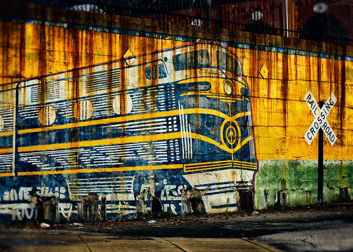 Locomotive Greeting Card featuring the photograph Locomotive On A Wall by Bill Swartwout Fine Art Photography