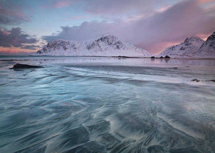 Scenics Greeting Card featuring the photograph Lofoten Island Sunrise by Antonyspencer