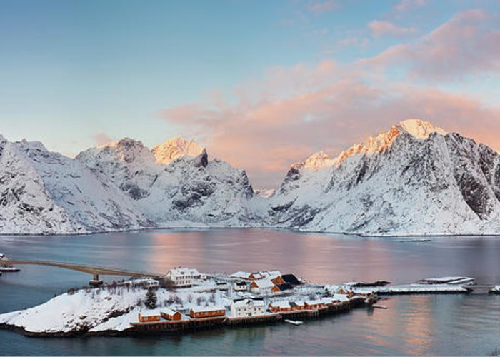 Tranquility Greeting Card featuring the photograph Lofoten Islands Winter Panorama by Esen Tunar Photography