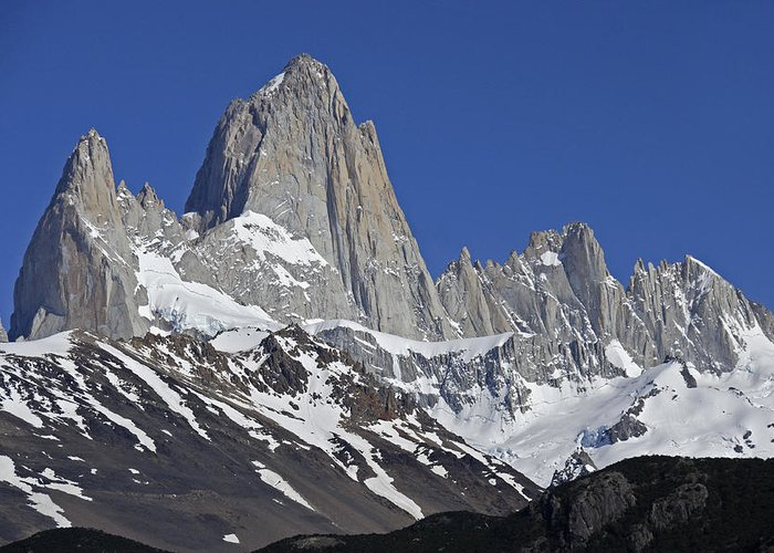 Argentina Greeting Card featuring the photograph Lofty Mount Fitz Roy by Michele Burgess