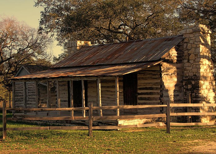 Artitecture Greeting Card featuring the photograph Log Cabins In Sunset by Linda Phelps