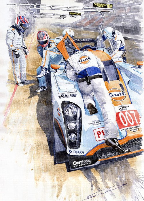 Automotive Greeting Card featuring the painting Lola Aston Martin Lmp1 Gulf Team 2009 by Yuriy Shevchuk