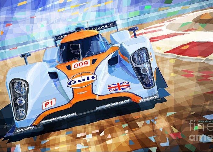 Automotive Greeting Card featuring the mixed media Lola Aston Martin Lmp1 Racing Le Mans Series 2009 by Yuriy Shevchuk