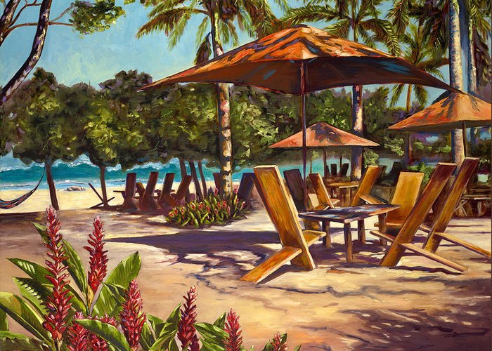 Tropical Greeting Card featuring the painting Lola's In Costa Rica by Christie Michael