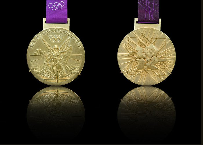 Olympic Greeting Card featuring the photograph London 2012 Olympics Gold Medal Design by Matthew Gibson