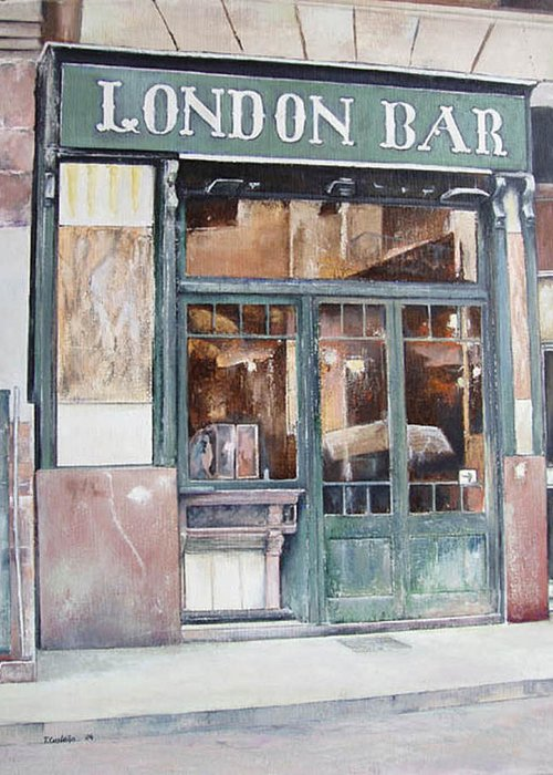 London Greeting Card featuring the painting London bar-Barcelona by Tomas Castano