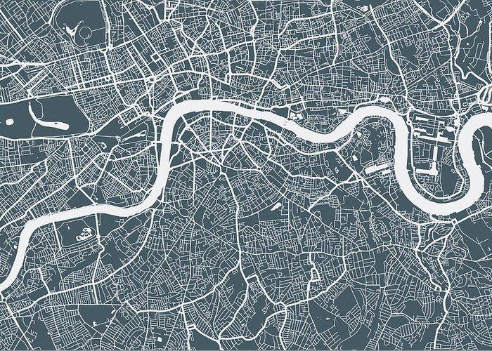 Art Greeting Card featuring the digital art London City Map by Mattjeacock