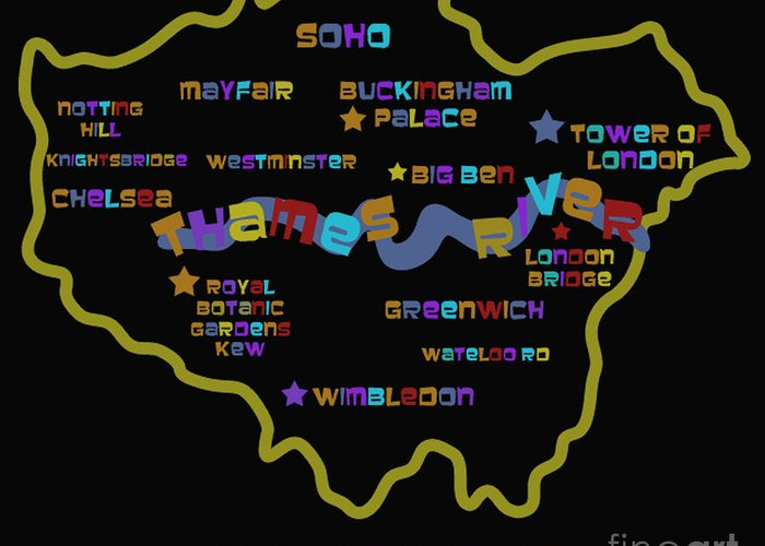 London England Map Greeting Card featuring the photograph London by Dan Hilsenrath