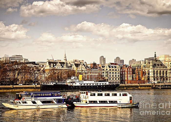 London Greeting Card featuring the photograph London From Thames River by Elena Elisseeva