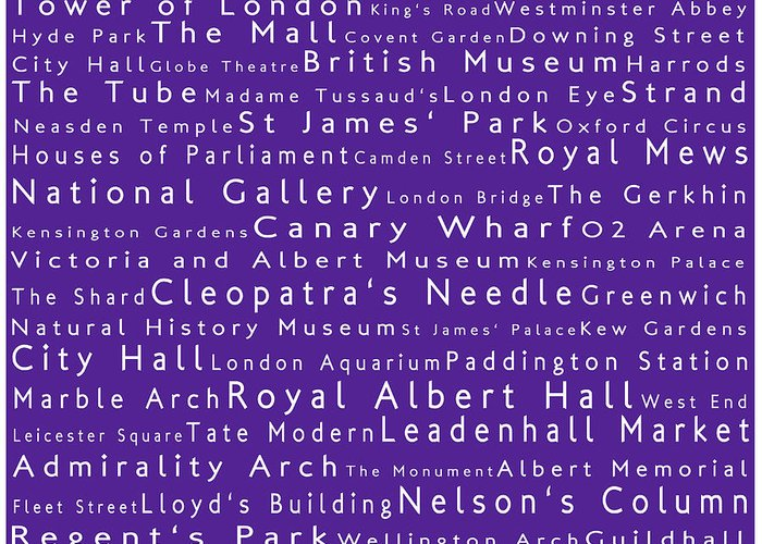 Cities Greeting Card featuring the photograph London In Words Purple by Sabine Jacobs