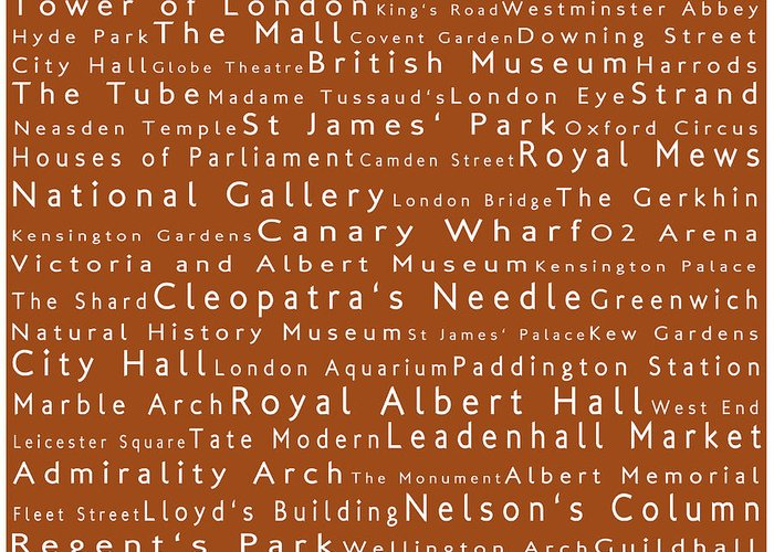 Cities Greeting Card featuring the photograph London In Words Toffee by Sabine Jacobs