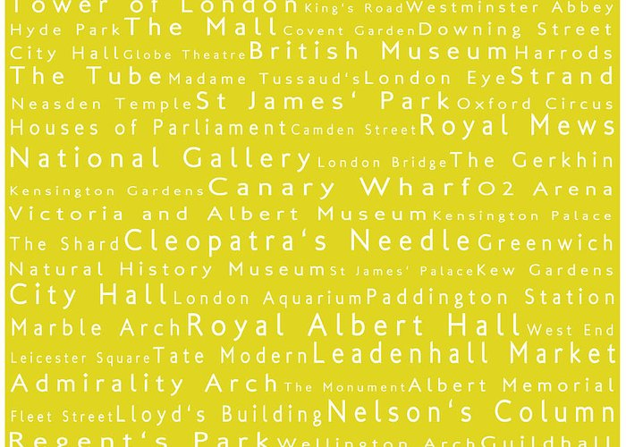 Cities Greeting Card featuring the photograph London In Words Yellow by Sabine Jacobs