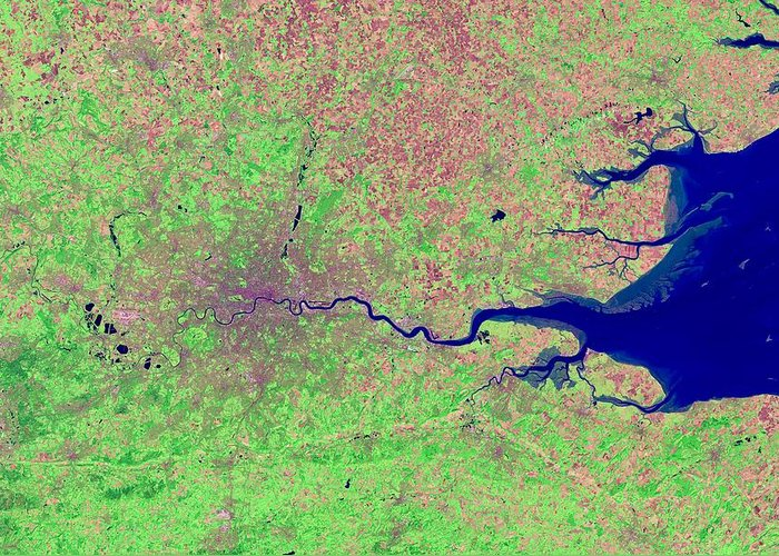 London Greeting Card featuring the photograph London, Infrared Satellite Image by Science Photo Library
