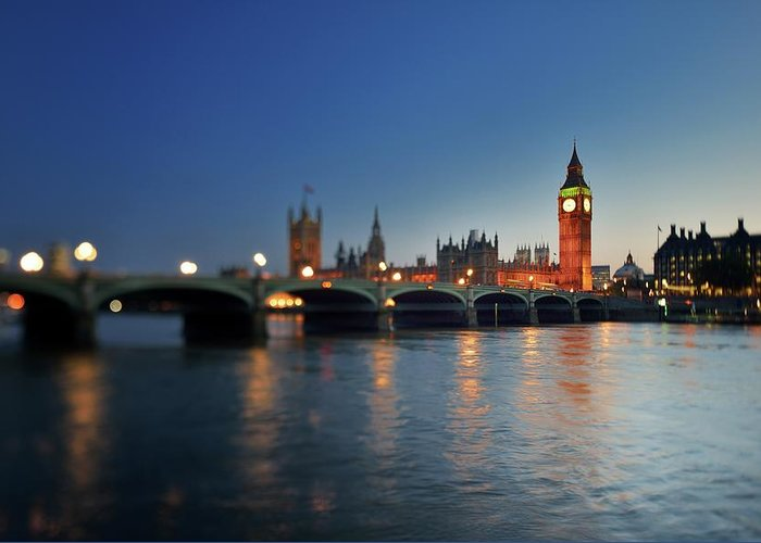 Tranquility Greeting Card featuring the photograph London, Palace Of Westminster At Sunset by Vladimir Zakharov