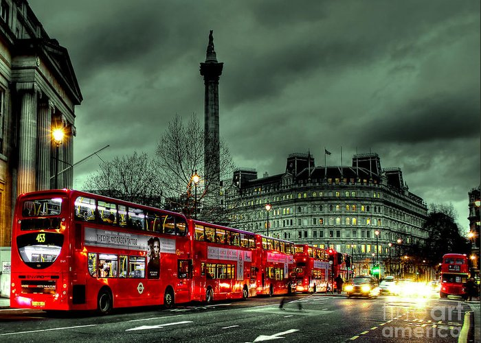 London Red Bus Greeting Card featuring the photograph London Red Buses And Routemaster by Jasna Buncic
