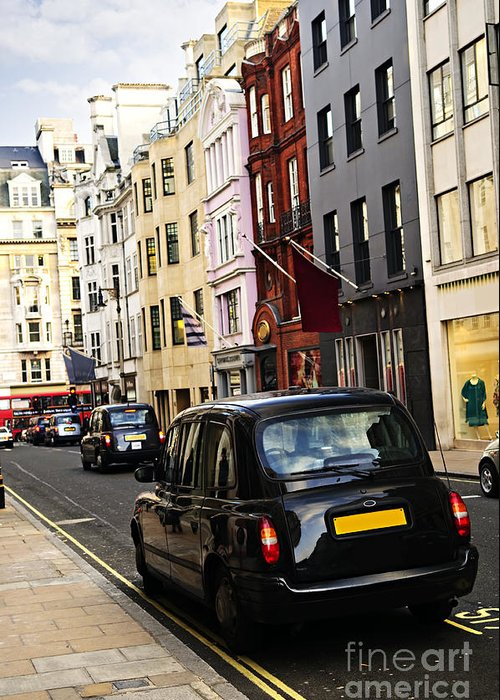 London Greeting Card featuring the photograph London Taxi On Shopping Street by Elena Elisseeva