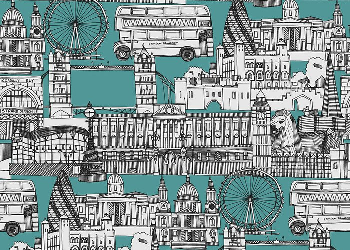 Includes The Tower Of London Greeting Card featuring the drawing London Toile Blue by MGL Meiklejohn Graphics Licensing