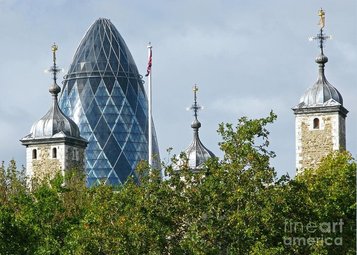 London Towers By Ann Horn Greeting Card featuring the photograph London Towers by Ann Horn