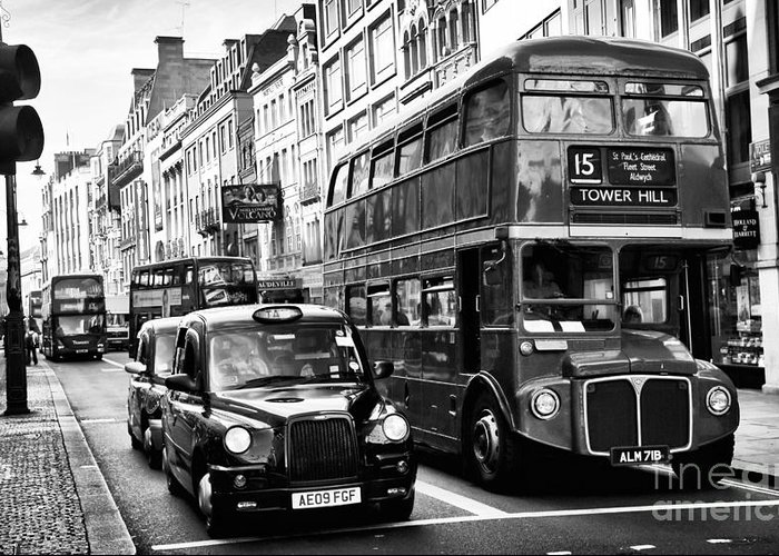 London Traffic Greeting Card featuring the photograph London Traffic by John Rizzuto