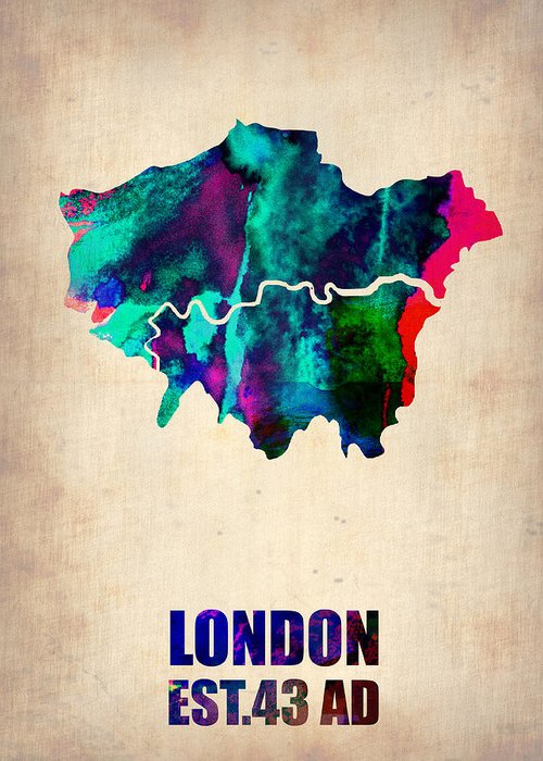 London Greeting Card featuring the painting London Watercolor Map 2 by Naxart Studio