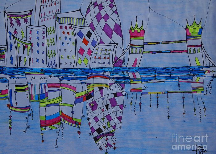 London Greeting Card featuring the painting London by Aixa Rios