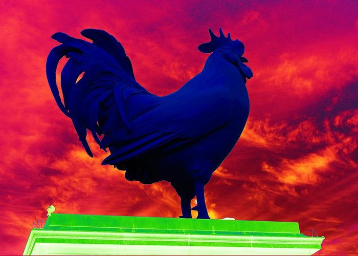 Rooster Greeting Card featuring the photograph London's Blue Rooster by Richard Henne