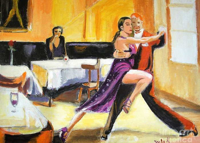 Dance Greeting Card featuring the painting Lone Audience by Judy Kay