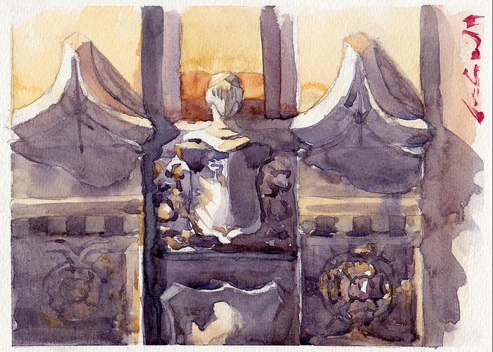Architecture Classic Gothic Armor Soldier Knight Bas Relief Sculpture Statue Accent Decoration Building Brick Concrete Stone Watercolor Watercolour Color Colour Paint Art Painting Blue Grey Silver Yellow Vintage Chicago City Downtown Profile Medieval Church Greeting Card featuring the painting Lone Guardian by Max Good