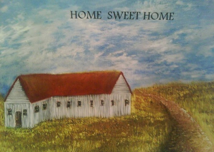 Landscape Greeting Card featuring the painting Lone Home by Domingo Sanchez