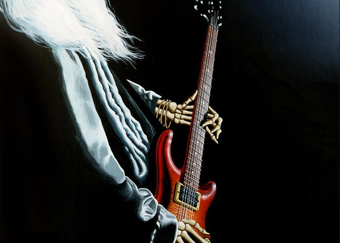 Johnny Winter Greeting Card featuring the painting Lone Player by Gary Kroman