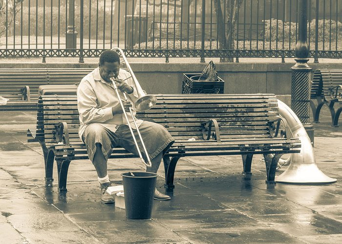 New Orleans Greeting Card featuring the photograph Lone Trombone Player by Ross Muggivan