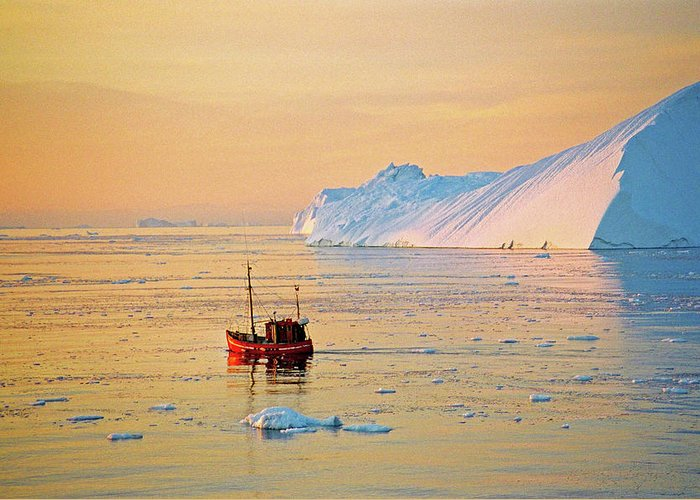 Greenland Greeting Card featuring the photograph Lonely Boat - Greenland by Juergen Weiss