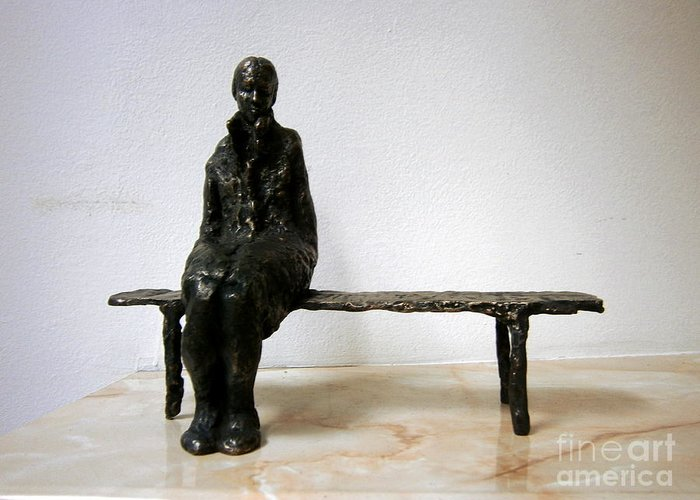 Lonely Greeting Card featuring the sculpture Lonely Girl by Nikola Litchkov