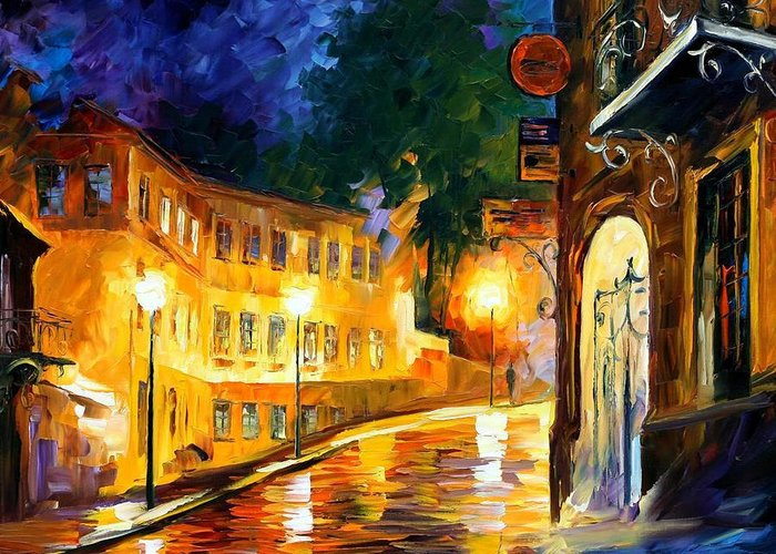 Oil Paintings Greeting Card featuring the painting Lonely Night - Palette Knife Oil Painting On Canvas By Leonid Afremov by Leonid Afremov