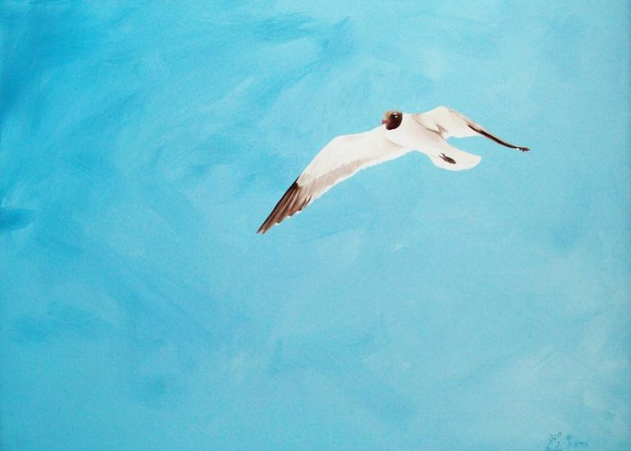 Bird Greeting Card featuring the painting Loner by Scott Alcorn