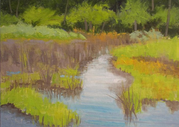 Nature Greeting Card featuring the painting Long Creek Marsh by Robert Rohrich