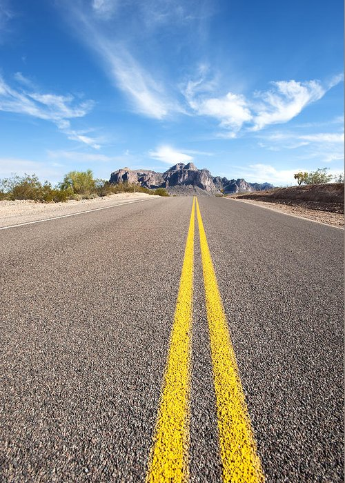 Road Greeting Card featuring the photograph Long Desert Road by Joe Belanger