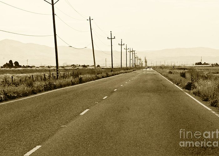 Road Picture Greeting Card featuring the photograph Long Road Home by Artist and Photographer Laura Wrede