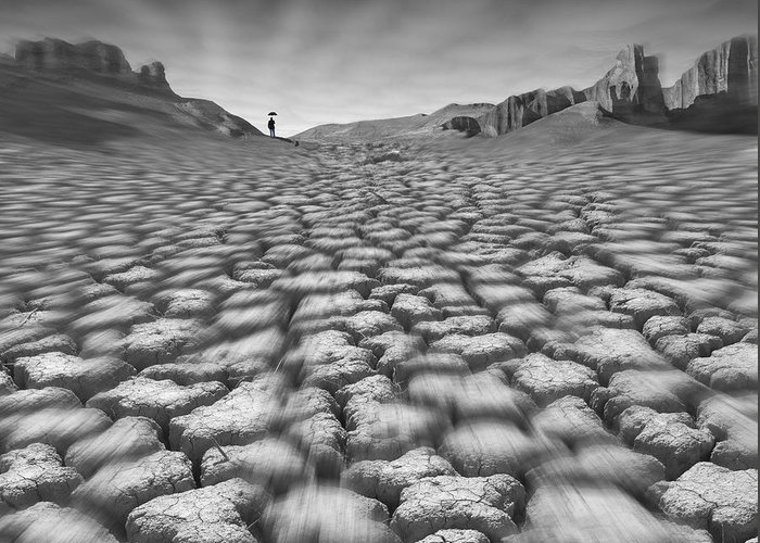 Cracked Desert Greeting Card featuring the photograph Long Walk On A Hot Day by Mike McGlothlen