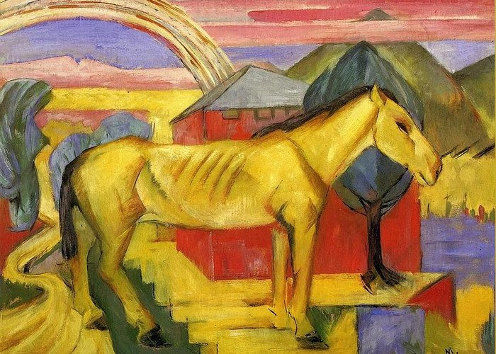 Franz Greeting Card featuring the painting Long Yellow Horse 1913 by Franz Marc