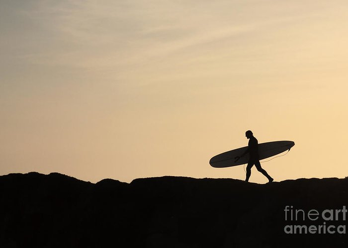 Surfer Greeting Card featuring the photograph Longboarder Crossing by Paul Topp