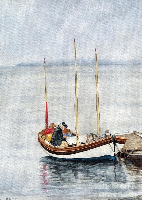Transportation - Wooden Boat - Wooden Sailing Boat Greeting Card featuring the painting Longboat by Sandy Linden