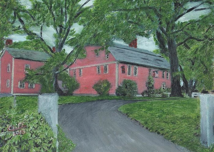 Historic Site Greeting Card featuring the painting Longfellow's Wayside Inn by Cliff Wilson