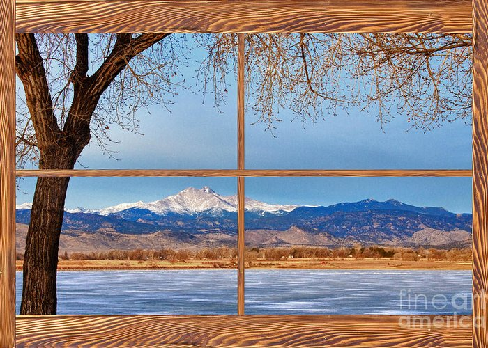Windows Greeting Card featuring the photograph Longs Peak Across The Lake Barn Wood Picture Window Frame View by James BO Insogna
