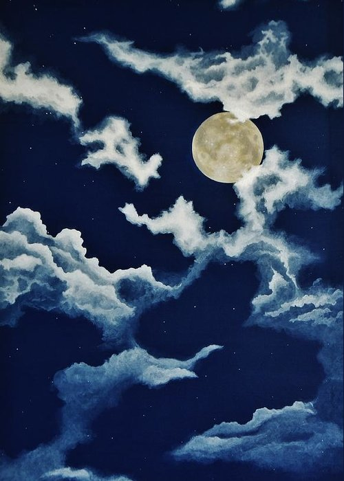 Print Greeting Card featuring the painting Look At The Moon by Katherine Young-Beck