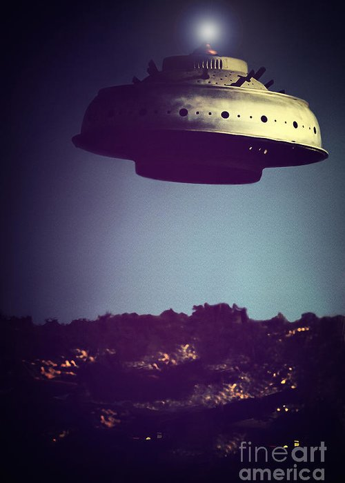 Greeting Card featuring the photograph Look... It's A Flying Saucer by Trish Mistric