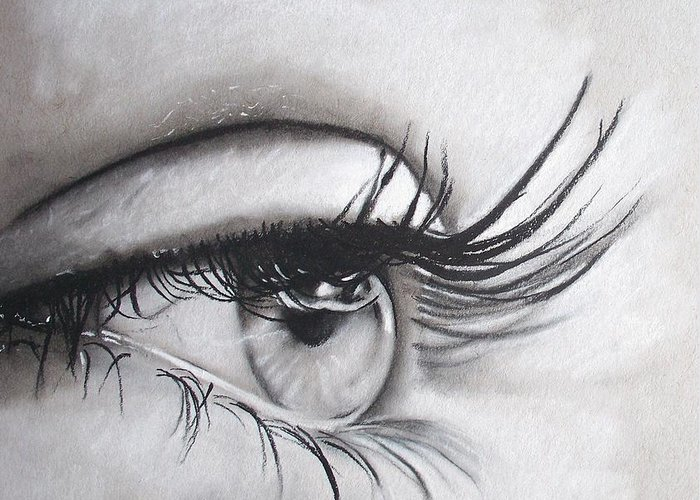 Eye Greeting Card featuring the drawing Look by Samantha Howell
