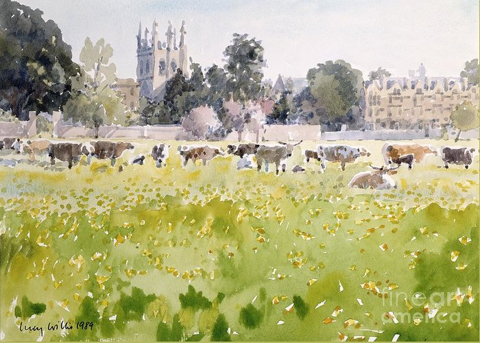 College Greeting Card featuring the painting Looking Across Christ Church Meadows by Lucy Willis